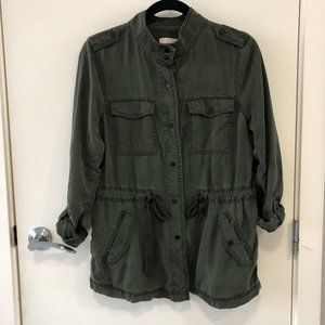 LOFT Drawstring Utility Jacket Green Size Small